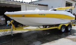 Options included on this model: Fusion Stereo w/ I Pod Dock & SS Speaker Covers, Depth Sounder, Stainless Bimini Top, Dual Battery Set Up w/ Battery Switch, Telescoping Ski Tow Bar, Snap In Bamboo Carpet, Pull Up Cleats, Boat Cover, Tandem Axle Bunk