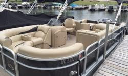 Large & unique pontoon with great power. Manitou has always been known as one of the best in quality in the pontoon industry, this low hour (29) boat is perfect for entertaining and water sports. Check out the flap features on the dual aft
