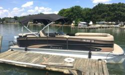 Freshwater High Quality Premier Pontoon Boat with Reliable 150 4 Stroke Honda Motor. This BEAUTY HAS A 10 FOOT BEAM that gives you Tons of Extra Square Footage of Deck Space to bring all your friends and family, plus it make her more stable in rough