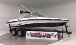 Go to our web site for updated info: midwayautoandmarine. com. Over 75 used family boats in stock. All with warranty. Delivered all over the U.S. and Canada. ADD A WAKE TOWER FOR ONLY $1500!!! Super clean 1 owner 21' runabout! We used to sell new Reinell