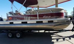 Great pontoon boat, good shape, upholstery in good condition, Mercury 60hp EFI 4 Stroke engine starts and runs well. Tandem axle trailer with brakes, Boat cover. Fish Finder. Nominal Length: 20' Length Overall: 20' Engine(s): Fuel Type: