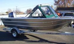 90 hp Yamaha four stroke, stand-up fishing top with side and rear drop curtain, driver and passenger pedestal seats, rear side seats and two rear transom seats. Front fish box, drivers wiper. EZ Loader trailer. - 18' Fishing BoatNominal Length: 18'