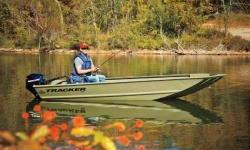 """The all-welded TRACKER® GRIZZLY® 1448 AWL is perfect for outdoorsmen who want a rugged, no-frills Jon boat that can fish and hunt. Its 19"""" (48.26 cm) all-aluminum transom is designed to accommodate a long-shaft tiller engine for easy control. This also"""