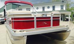 Burgundy with tan interior, stainless prop, 115hp Yamaha 4 stroke, tow bar, and double lounge chairs in the rear. This boat only has 6 hours on it and has been dry stored since purchased. Standard features: Comes standard with 2 toons.