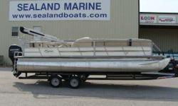 REDUCED FROM $23,900.00 TO $21,500.00!! 2014 Bentley Encore 24' Cruise pontoon with a Mercury 90 Horsepower four stroke motor and tandem axle trailer. White panels with a tan interior, this boat is in great condition and is full of bench seats for plenty