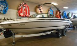2014 Bryant 233W equipped with Volvo Penta 300 hp V8 inboard/outboard motor. Boat includes snap cover, wind guides, docking lights, extended swim platform, snap carpet, bolster seats, rear ladder, tower with bimini, Faria depth gauge, radio with 8 Wet