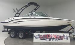 Go to our web site for updated info: midwayautoandmarine.com. Over 75 used family boats in stock. All with warranty. Delivered all over the U.S. and Canada. 1 owner and only 49 hours!! This boat is just like new!! Save thousands and thousands from new