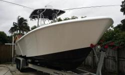 (LOCATION: Hialeah FL) This Contender 35 Tournament is big, fast, and ready to fish. She has a large open cockpit with fishing room fore and aft with all the amenities needed for successful fishing. Powered by twin 350-hp horsepower Yamahas she will get