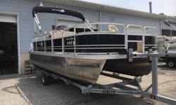 Table, Bimini Top, Tow Ring, Gauges (MPH, RPM, Fuel), Alpine Radio (Bluetooth & AUX), (1) Livewell, (1) Boarding Ladder, (2) Fishing Seats, (2) Bases, Lowrance X67C Fish Finder, Individual Seat Covers, Cup Holders, Changing Unit, 40# Anchormate, Vinyl