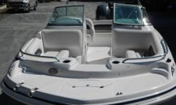 This is the top of the line deckboat series! This boat was used in our rental fleet for one month. It has 108 hours on the engine. It is in mint like new condition! Retail on this package in 2014 was over $60,000. Options include