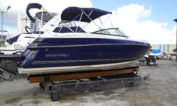 ON SALE 2014 Monterey 264FS Turnkey, ready to go! ? Bow & Cockpit Cover ? Wetbar ? Upgraded Stereo w Sub woofer ? Additional Aft Bimini ? Full Coast Guard Kit ? Dual prop ? Garmin GPS ? Low Hrs. Under 300 ? Needs nothing, turnkey. SPACIOUS AND AGILE The