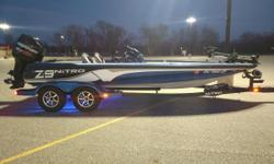 2014 Nitro Z-9 Mercury 250 hp. Optimax Pro XS- repowered Sept. 2017 Gold extended warranty until 4/2019 Dual console 101 lb 36 volt Minn Kota Fortrex trolling motor Lowrance HDS-12 depth finder gimble mounted on bow...also has ram mount