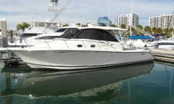 This 2014 Pursuit385 Off Shoreis the flagship model of the Pursuit fleet of premium offshore boats, and she is in better overall condition than when she was delivered from the factory. She is powered with triple Yamaha 300hp