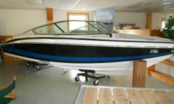Options on this in stock model: Bimini Top, High-PerformanceStereo, High performanceVolvo 5.7 270hp V8Fuel Injected engine, Black Metal Flake upgrade with Brittany blue, Helm Bolster Bow Filler Cushion, Bow walk thru Doors, Seagrass Snap in