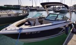 This boat is equipped with a custom Ez-Loader tandem axle trailer, Mercruiser 350 Mag MPI B3 drive, two tone hull, bow cover, cockpit cover, power tower, cockpit carpet, table, bimini top, dual batteries, hi perf. stereo, travel cover and ski mirror. Boat
