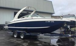 Just reduced $3,000. This boat is equipped with a Mercruiser 350 Mag MPI B3 engine (199 hours),Trailmaster custom tandem axle trailer, swing tongue, chrome rims, power tower, tower speakers, cockpit table, snap out carpet, auto fire ext. dual