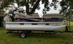 2014 Sun Tractor Party Barge Pontoon 18 Feet Long 60 Horse Power Mercury 4 Stoke Like New Condition Still Under Warranty Aluminum Hull Material Silver Interior And Exterior Color Single Axle Trailer 30 Hours On The Engine 18 Gallon Fuel Capacity Located