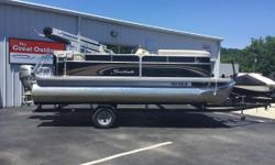 THE GREAT OUTDOORS MARINE - THE FUN STARTS HERE! 2014 SWEETWATER 2086 - BLACK 2014 HONDA 50HP 4-STROKE OUTBOARD 2014 TENNESSEE SINGLE AXLE TRAILER Carpeted floors w/ teak vinyl on stern 2 bow couches w/ under-seat storage 1 L-lounge w/ under-seat storage