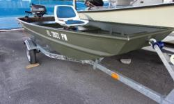 2015 Alumacraft Jon boat 1236 with a F6 Yamaha engine and Magictilt trailer. Includes a seat, trolling motor and extended warranty on the engine until 2/20. Nominal Length: 12' Length Overall: 12' Beam: 36 ft. 0 in.