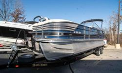 This is a used 2015 Crest Continental Tritoon. This boat includes CP3Plus performance package with 2 25 inch outer toons and a 26 inch center toon to enhance maneuverability. This boat is classic looking with navy exterior and tan