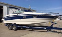 Sneak away for the weekend on this trailerable 26-foot express cruiser! Crownline's 266 CCR is equipped with a 380hp Mercruiser that will cruise up to 36 mph! Sleeping arrangements for two below decks along with the comfort of an enclosed head & small
