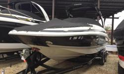 Transom remote for stereo, transom trim switch, Bravo III, Tandem axle trailer with surge brakes, F.A.S.T tab hull, Electric Arch with can speakers, Bolster seats, Ceramic head with electric flush, windscreen, 377MAG, Snap in berber carpeting. Call for