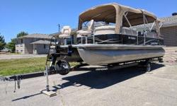 2012 Legend Bayshore RE 25 foot Pontoon Boat 25 foot Pontoon Boat. 90 hp Mercury 4-stroke. Boat has full enclosure. Barbecue. Stereo. Depth finder. 8 life jackets. Airhead 3 seat tube. Engine cover. All required safety equipment. Live well with pump.
