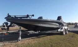 This 2015 Nitro Z9 comes with a 250 Mercury Pro XS, hot foot pro trim, and a 24V, 82-lb. Motor Guide trolling motor! It has an upgraded charger, SmartCraft gauges, and two Lowrance fish-finders- an HDS 7 and an HDS 5 with structure scan. There is no