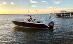 Experience Pursuit's popular 280 Sport! This luxury center console delivers a refined level of amenities enhancing the fishing experience. Its long list of standard features include rich teak accents, a fiberglass hardtop, overhead electronics & storage