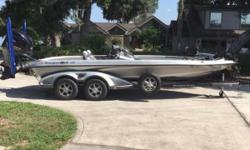 2015 Ranger Z521c Comanche Bass Boat with a Yamaha 250 HP SHO VMax and custom matching Ranger Trail tandem axle trailer with brakes and swing tongue. This dream rig is loaded with Dual 10' Blade Power Poles with foot switch, Lowrance HDS-12 Touch