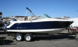 ONLY 27 HOURS! Yamaha F250XA 4Stroke engine, bimini top, aft bench seat options, bow cushions, VacuFlush head with overboard discharge, VHF radio, underwater lights, white bottom paint. MAKE OFFER! Nominal Length: 22'