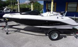 Like New 2015 Scarab 165 Jet boat.  Has a Rotax engine, bimini top, and stereo.  Comes with a powder coated single axle trailer.  Less than 20hrs. Nominal Length: 16' Length Overall: 16.4' Beam: 6 ft. 6 in.