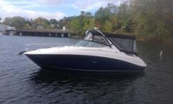 2015 Sea Ray 280 Sundancer, powered by a Mercruiser 350 Mag Bravo 3 Drive with 165 hours. This boat is a one owner, fresh water boat bought and serviced by Irwin Marine. Features include: camper canvas, cockpit cover, digital dash, spotlight, grill,