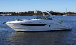 This 2015 350 Sundancer is in excellent condition, and has been dealer maintained since new. Her 375hp Mercruiser 8.2L engines have just 106 hours (under warranty until Oct 2020), and her cockpit remains fully covered when not on the water-
