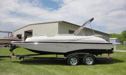 New 2015 Starcraft 220 Starstep with Mercruiser 4.5L and custom EZ Loader trailer. Options include Sportstar package (two tone hull/deck stripe, grey LS interior, black LS dash, SS rail, LED cupholders/speakers, depth, hour meter, snap in carpet, swim