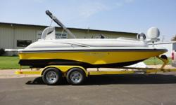 New 2015 Starcraft Star Step 220 with Mercruiser 5.0L and custom EZ Loader tandem trailer. Options include SportStar package (two tone hull/deck stripe, grey LS interior, black LS dash, SS rail, LED cup holders/speakers, depth, hour meter, snap in carpet,