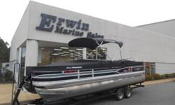 2015 Sun Tracker FISHIN' BARGE® 24 DLX This is a like new 24' Fish'n Barge that is powered by a Mercury 115 4 Stroke. It is equipped with Bimini Top; Full Mooring Cover; Trolling Motor; Fish Finder; Ski Tow Bar; Stereo and Tandem Axle Trailer. Our biggest