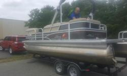 2015 20' DLX PARTY BARGE PONTOON. 60 MERCURY 4 STROKE. TANDEM TRAILER WITH BRAKES, COVER, STEREO, CHANGING ROOM, LADDER, AND DEPTH FINDER. STILL UNDER WARRANTY. 2 BIMINI TOPS. ASKING $22,000. FOR INFORMATION CALL HALL MARINE LAKE WYLIE MARINA. OPEN 7 DAYS