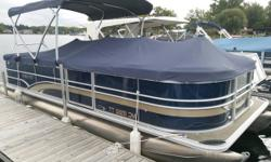 Lightly used 2015 Sylvan 8522 CRS with 115hp Mercury Command Thrust and Ski Tow Bar. Comes with durable 2015 Phoenix bunk trailer. Water sports are a breeze with this Big motor pontoon. Trades considered. CANVAS BIMINI TOP MOORING COVER DECK SKI TOW