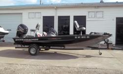 2015 Bass Tracker Pro Team 190 TX powered by a Mercury 115 hp 4 Stroke outboard engine and Minn Kota Edge 12 V trolling motor with 45 lbs. thrust. Boat includes depth finder, livewell, battery charger, rod storage and single axle trailer with swing