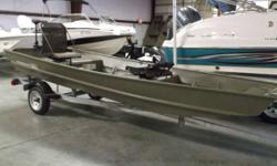 Price includes a 2016 Masteryde trailer, Minnkota Endura trollingmotor and 2-anchors. The TRACKER Topper 1542 LW Jon Boat is our only riveted, flat-bottom Jon to come with a built-in wetwell, and its built TRACKER tough to give you and your family years