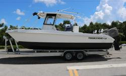 Here we have a very low hour 26 Twin Vee, powered with for stroke 150 Suzuki's. This is a wonderfully versatile catamaran that is already equipped with Simrad GPS, auto pilot, stereo, light bar, outriggers, windlass anchor, and custom bar that transitions