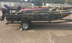 Like new 648LDV 25 Mercury with Gold warranty until 6/5/20. This boat has a bench seat, floor, navigation lights, 12 volt trolling motor bracket, 3 seats, 1/2 dry storage, bilge pump, 2 drink/shell trays, and 4 cleat brackets. The War Eagle model 648LDV