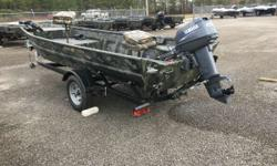 SOLD Water ready, with depth finder and trolling motor! Has 2007 Yamaha 25 The War Eagle model 648LDV is a duck hunter's dream boat. It can be equipped with engines ranging from 25 - 40 hp. By adding rear pods, the layout is perfect for mud motor or
