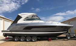 Twin MerCruiser 8.2 MAG HO ECT, 430 hp closed-cooled engines, aprx 71 hours Twin Bravo 3X DTS dual-prop sterndrives w/stainless steel props Drive showers Metal Craft 4-axle trailer w/pintle hook hitch, disc brakes, heavy duty tires, custom rims & spare