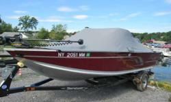 """Located Saratoga Springs New York 2016 Hugh Discount's Pre rigged Yamaha 4-Stroke Added Rear Flip Bench seat. Minnkota PD-V2 55-54""""Trolling Motor Travel Cover with Quick Clips. Bimini Top, Vinyl floor . Take a look at Alumacraft Vidio. So much more"""