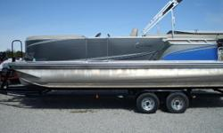 DESCRIPTION: INCLUDES MERCURY 115 4S CT, CHARCOAL CANVAS, CHARCOAL METALLIC WALL SKINS, SECOND WALL COLOR IS ELECTRIC BLUE, 2 TOON WITH LIFTING FINS Nominal Length: 24' Length Overall: 24' Beam: 8 ft. 6 in.