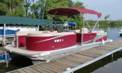 This boat was in our rental fleet this year. It has a Mercury 90hp 4 stroke motor. It has plenty of power to pull tubes. It has a vinyl floor, docking lights, ski tow, chrome package, and USB/Aux input for the stereo. The MSRP on this boat was 33950.00.