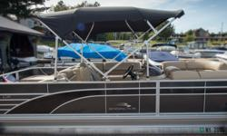 Offered for sale is a Pre-Loved 2016 Bennington 2275 GCW by Rivett's Marine Recreation & Service, Inc. In Old Forge, NY. Exterior Color - Smokey Granite with Midnight Black accent Canvas - Midnight Black Interior Upholstery Color - Napa Beige with