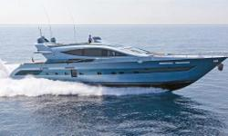 A factory demonstrator that is available now with new boat warranties. The CCN 102' Flying Sport is the optimal combination of speed, luxury, quality and cool. Italian style accented with her blue metallic paint stands out on the water, especially when